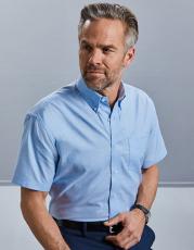 Oxford Hemd kurzarm Marke Russell, Farbe silber, Grösse Kragenweite 37-44