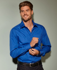 Popeline Business Hemd langarm, bügelleicht mit Brusttasche in 11 verschiedenen Farben