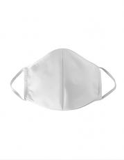 Mund-Nasen-Maske weiss, waschbar und wiederverwendbar, aus drei Lagen (2-Lagen Baumwollstoff + Vlieseinlage)