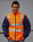 Hi-Vis Quilted Jacke mit abnehmbaren Ärmeln