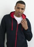 Hoodie Sweat Jacke unisex - Kontrastfarben in vielen Farben
